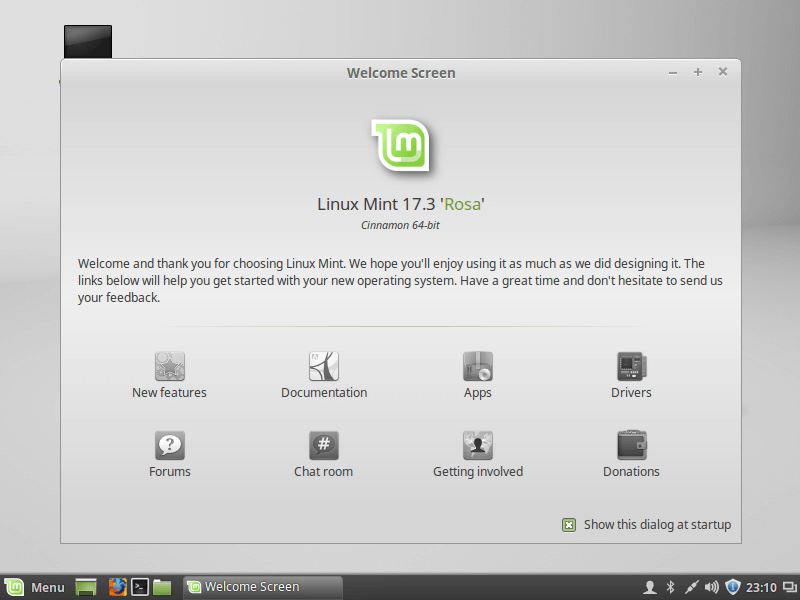 Linux Mint Welcome Screen