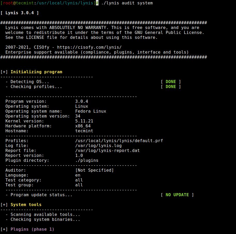 Monitoreo del sistema Linux con Lynis