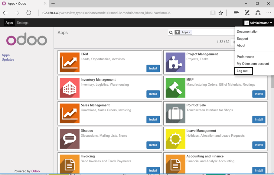 Odoo Administrative Web Panel