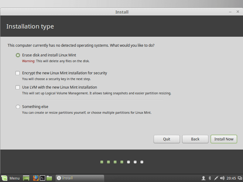 Select Linux Min Installation Type