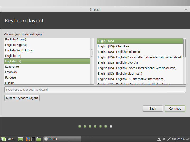 Select Linux Mint Keyboard Layout