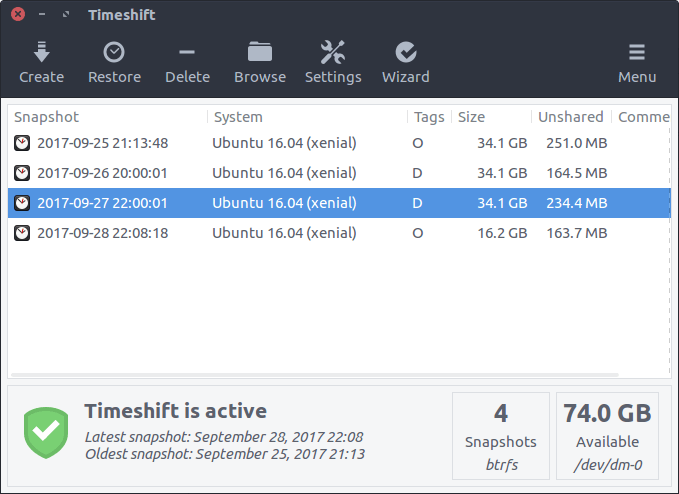 Timeshift System Restore Tool for Linux