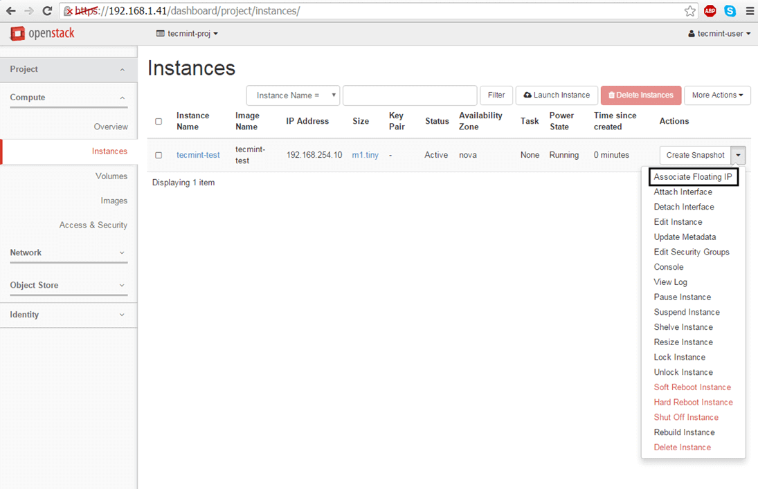 Add Associate Floating IP to OpenStack Instance