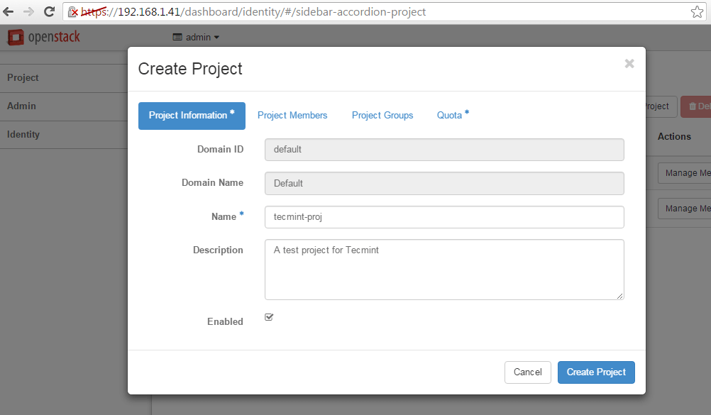 Add OpenStack New Project Details