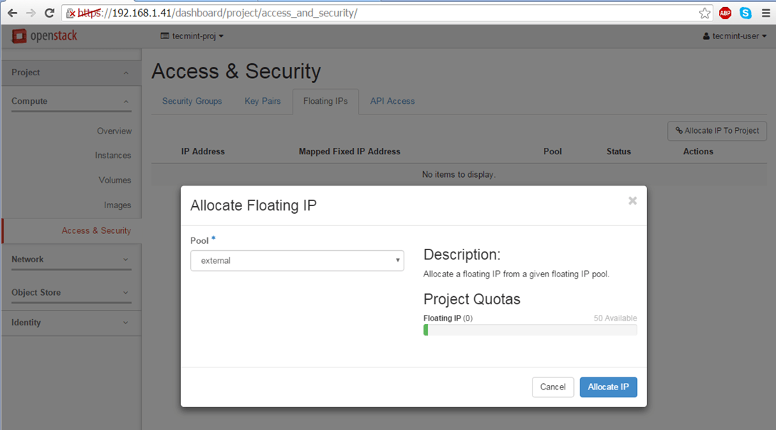 Allocate Floating IP to External Pool