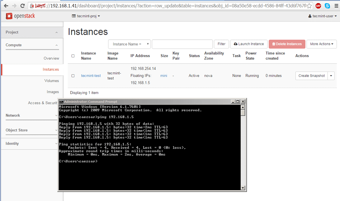 Check Network of Virtual Machine in OpenStack