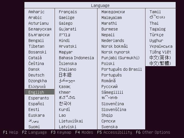Choose Ubuntu 16.04 Server Installation Language