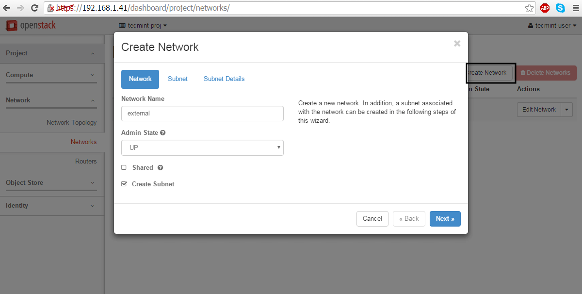 Create External Network for OpenStack