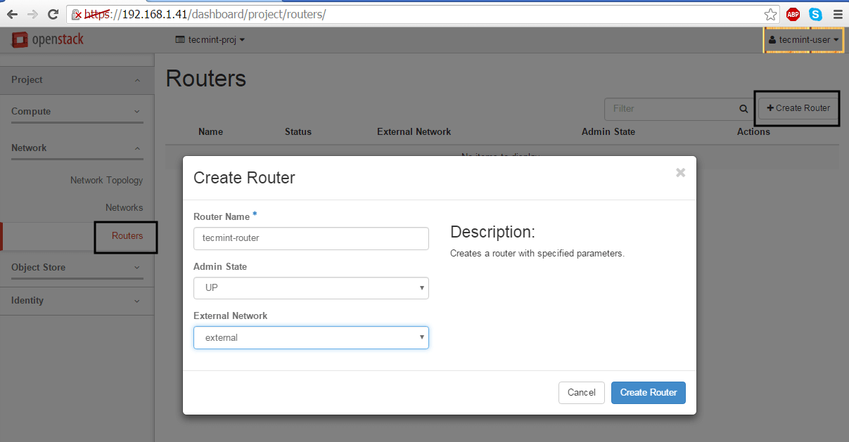 Create Network Router in OpenStack