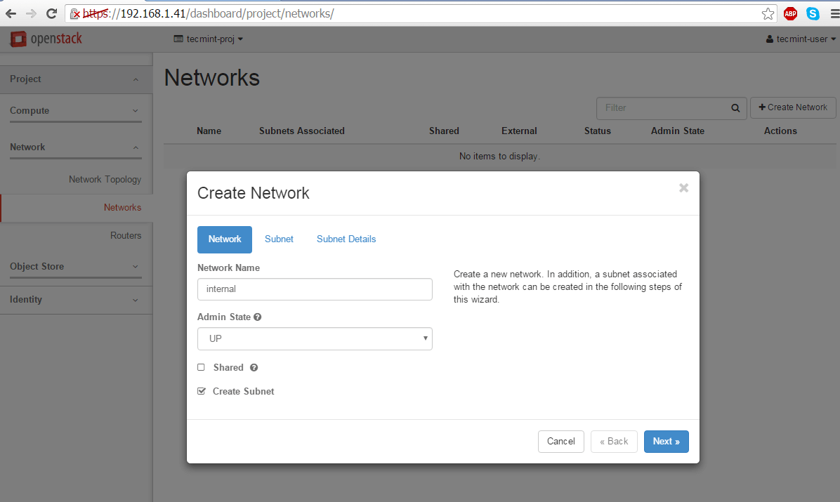 Create Network for OpenStack