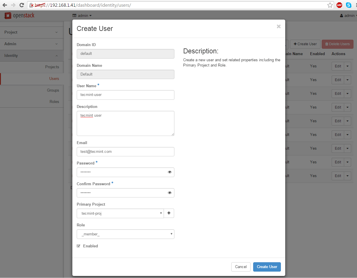 Create New User in OpenStack Project