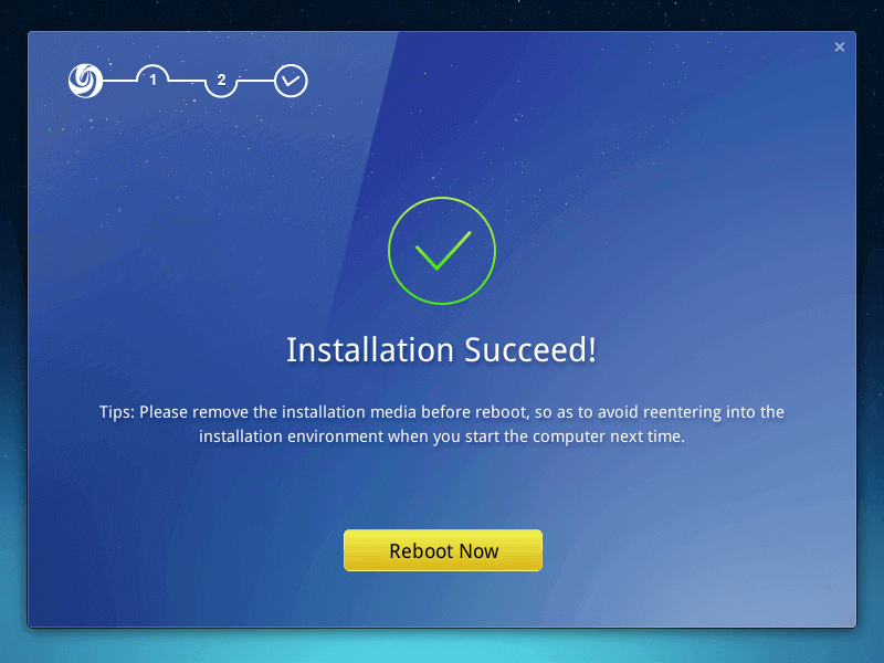Deepin Installation Completed
