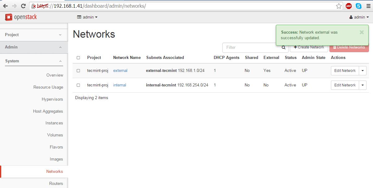 External Network Settings Updated
