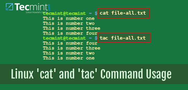 Linux cat and tac Command Usage
