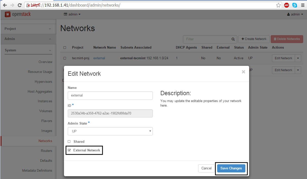 Make Network as External Network