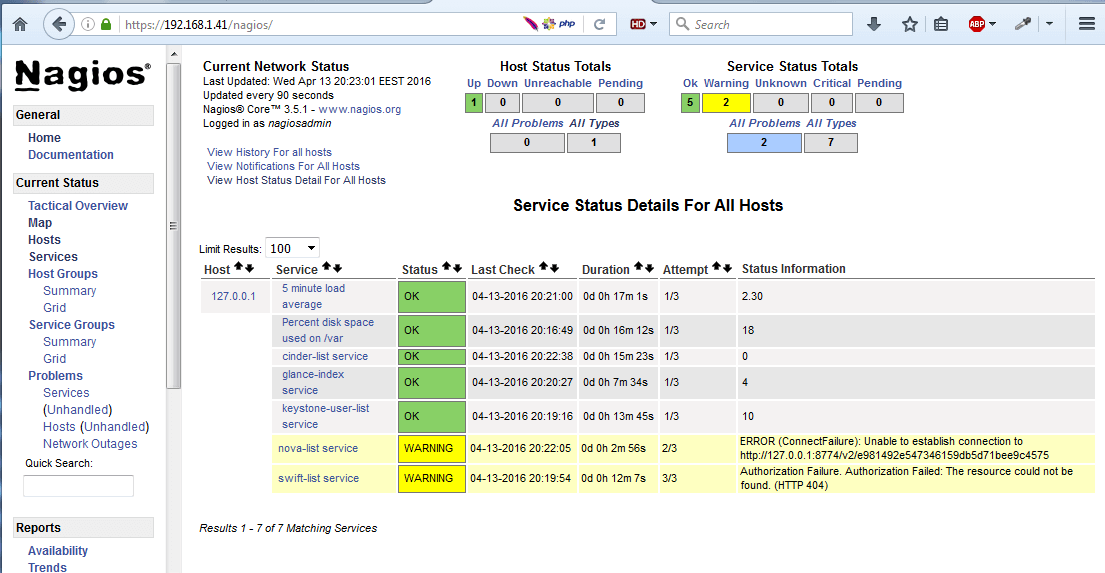 Nagios Linux Monitoring Interface
