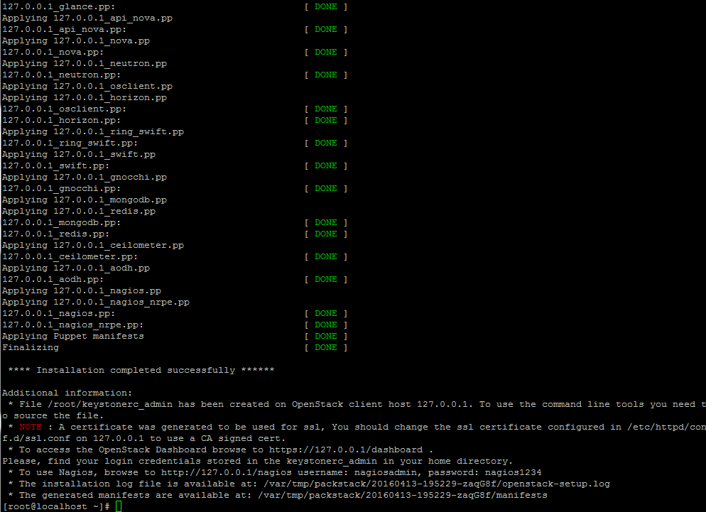 OpenStack Installation Completed