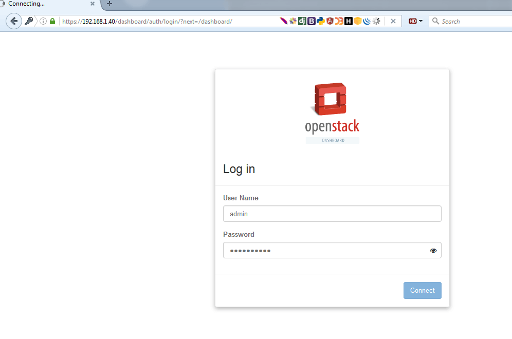 OpenStack Login Dashboard