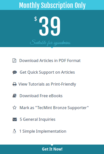 Tecmint Monthly Subscription