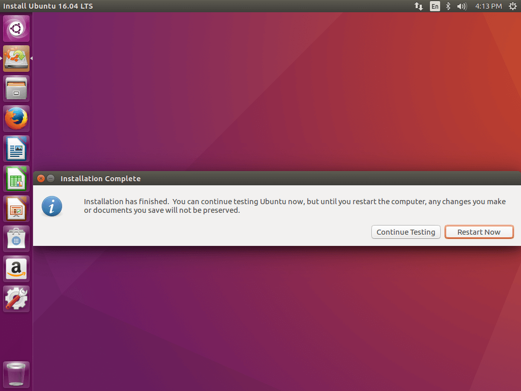 Ubuntu 16.04 Installation Completed