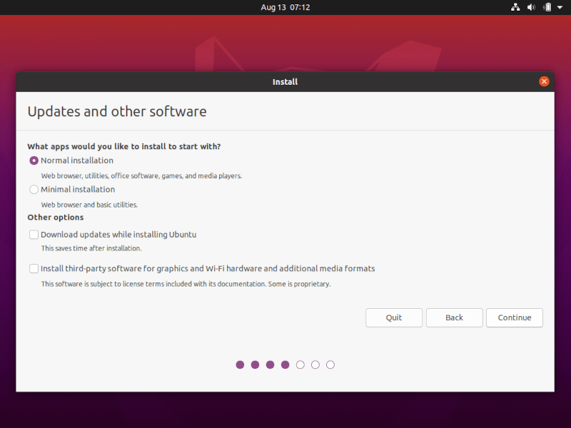 Select Ubuntu Normal Installation