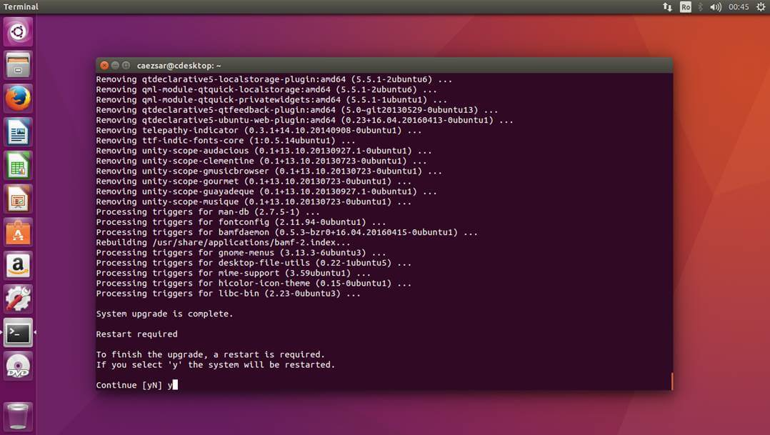 Restart Ubuntu to Take New Upgrade Changes