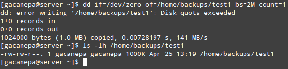 Verify Linux User Quota on Disk