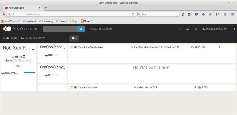 View XenServer Host Information in Xen Orchestra