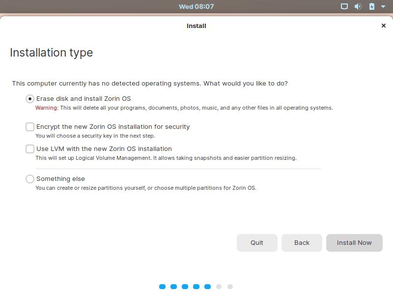 Zorin Installation Type