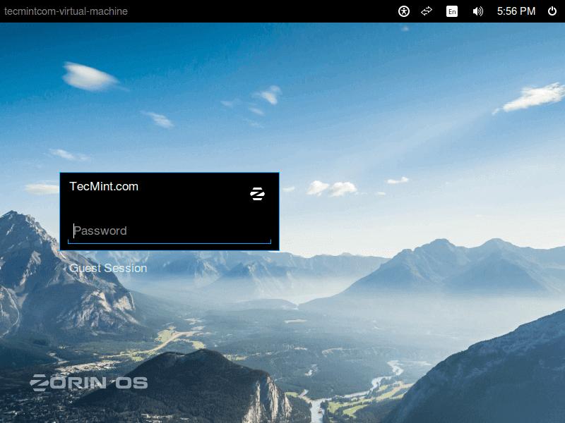 Zorin OS Desktop Login Screen