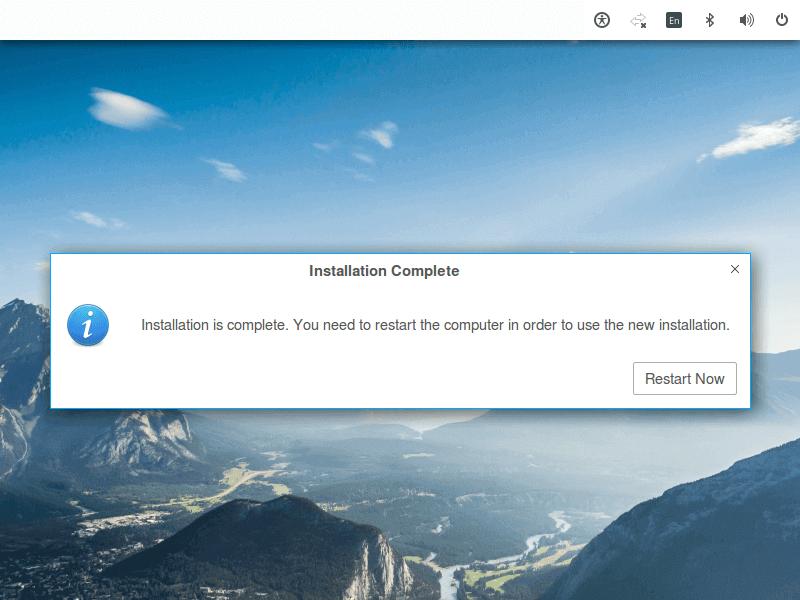 Zorin OS Installation Finishes