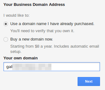 Add Business Domain Name