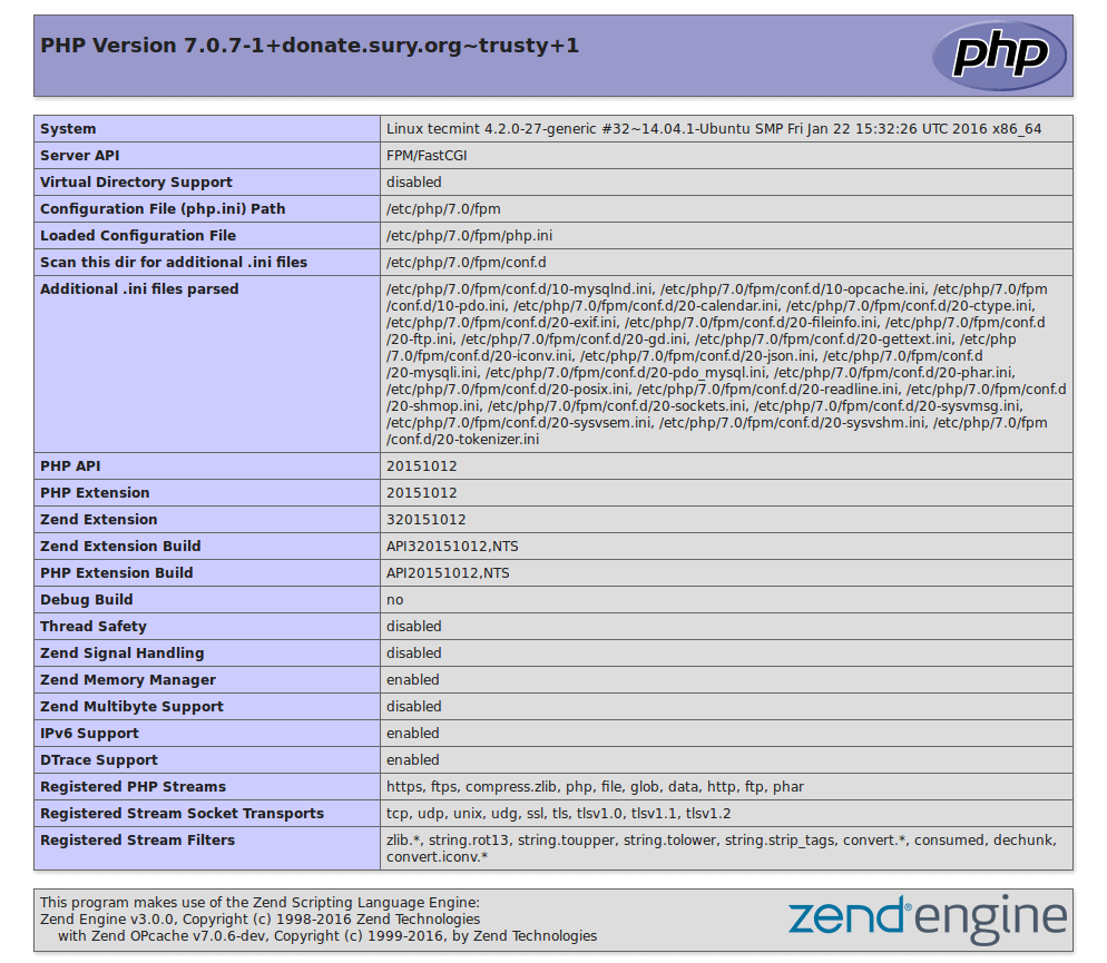Check PHP 7 Information
