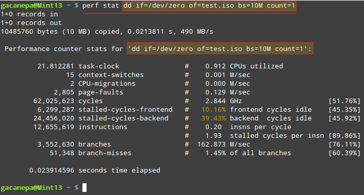 Collects Performance Statistics of Linux Command