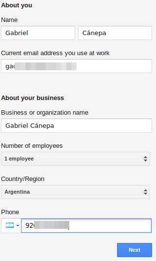 Fill User Details for Google Apps
