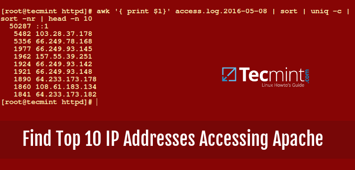 Find Top IP Address Accessing Apache Web Server