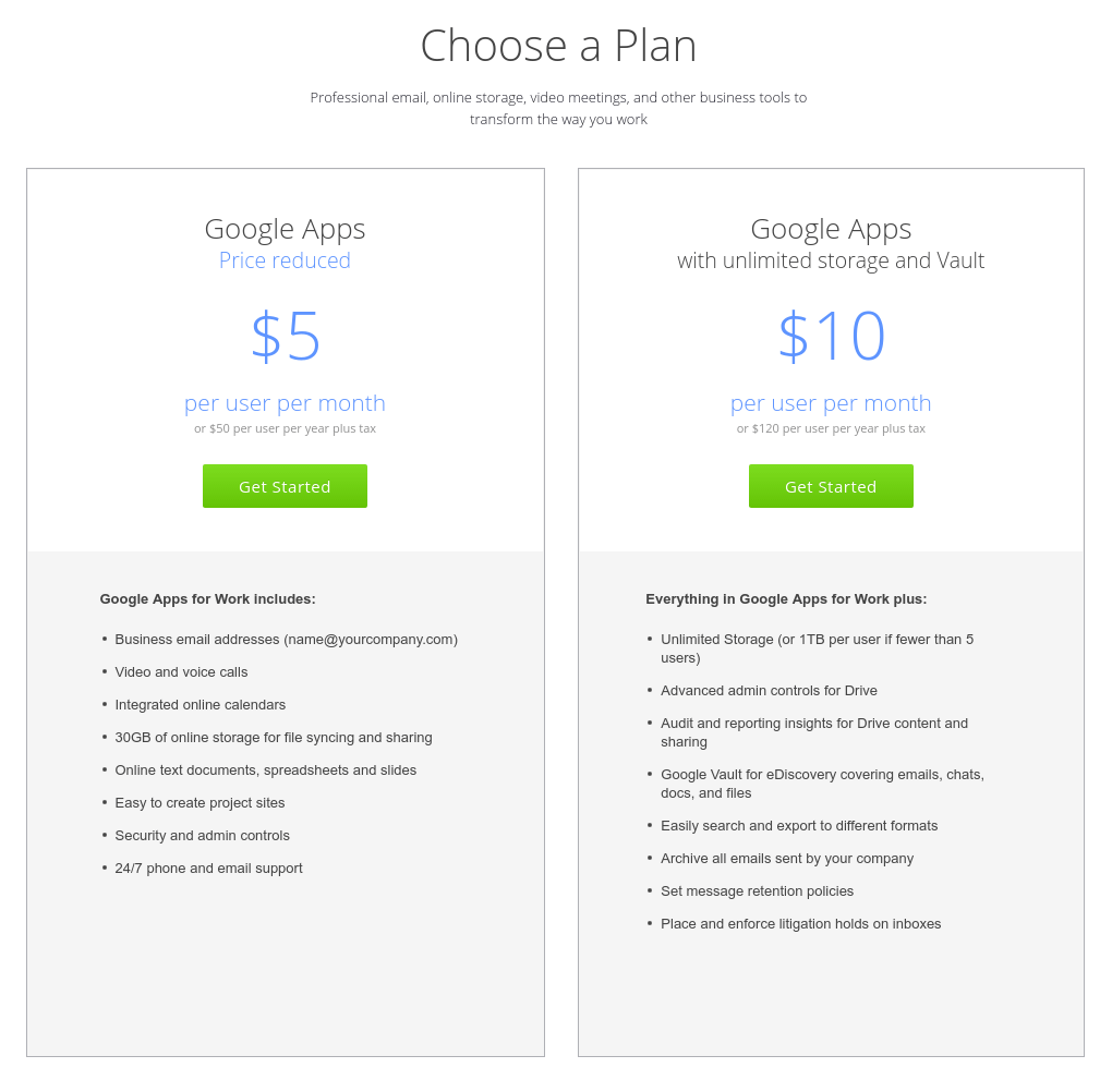 Google Apps Plans Pricing