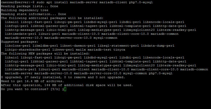 Install MariaDB for Nginx