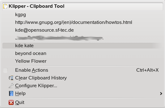 Klipper Clipboard Manager