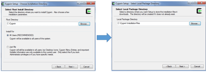 Select Cygwin Installation Directory