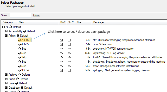 Select Packages to Install under Cygwin