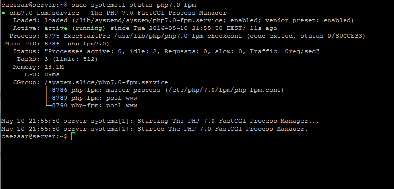 Start and Verify php-fpm Service