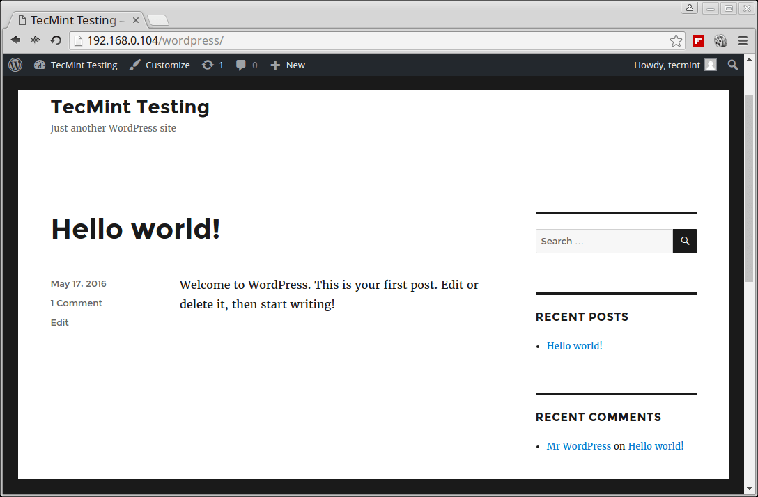 WordPress Site View