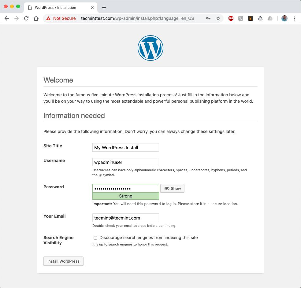 WordPress Website Details