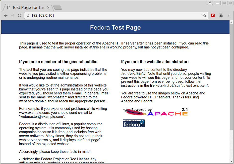Apache Default Webpage