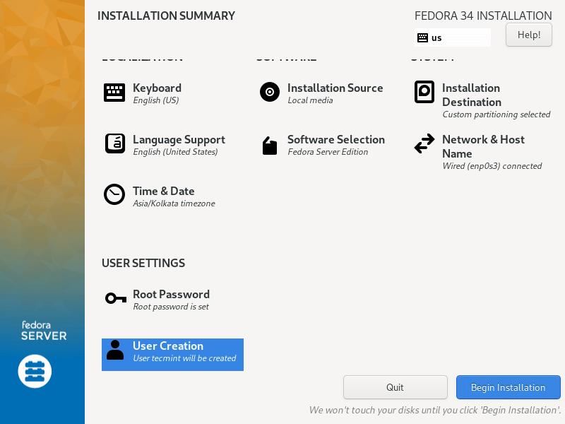 Begin Fedora Installation