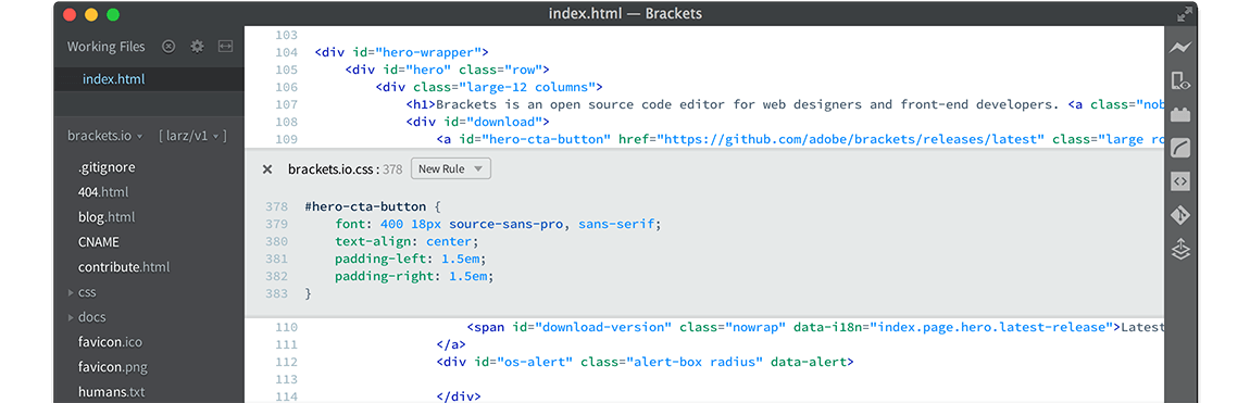 Brackets Code Editor for Linux