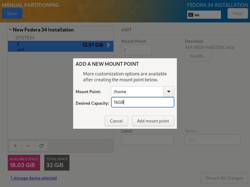Create Home Partition