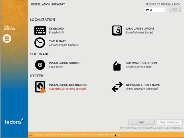 Fedora 24 Server Installation Summary