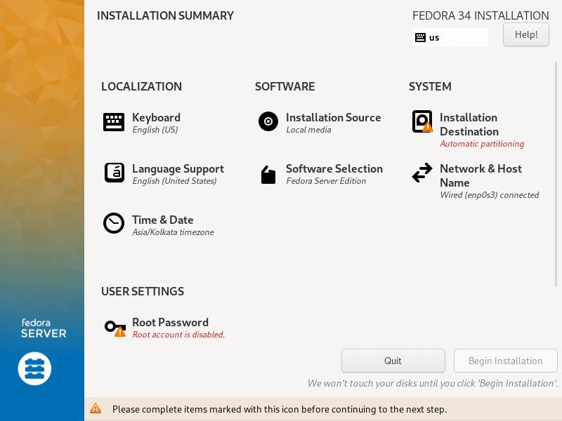 Fedora Server Installation Summary